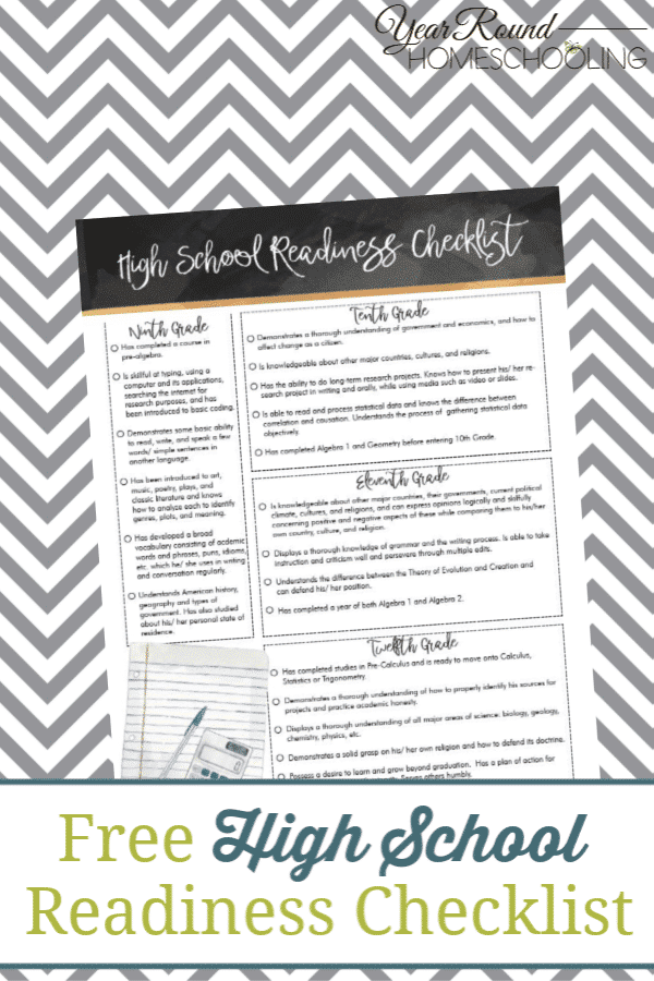 high school readiness checklist, high school readiness