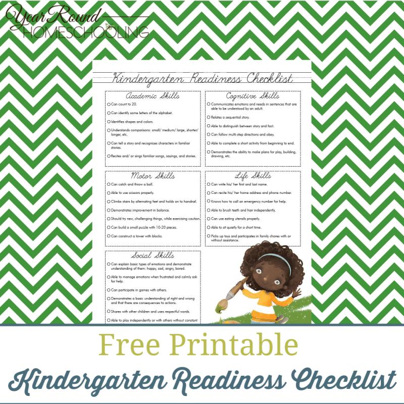 photo regarding Kindergarten Readiness Checklist Printable identified as Kindergarten Readiness Record - Yr Spherical Homeschooling