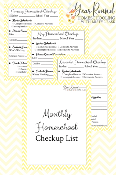 Monthly Homeschool Checkup List