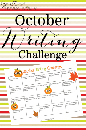 October Writing Challenge Calendar
