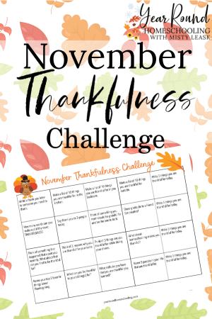 November Thankfulness Challenge Calendar