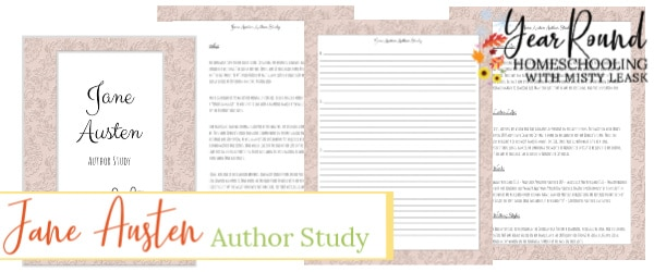 jane austen author study, jane austen study, jane austen author