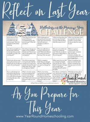 January Reflection Challenge Calendar