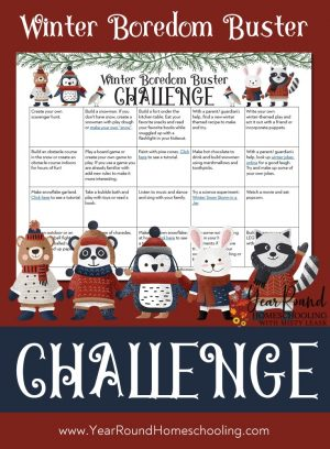 January Winter Boredom Buster Challenge Calendar