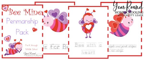 Valentine's day penmanship, Valentine's Day penmanship worksheets