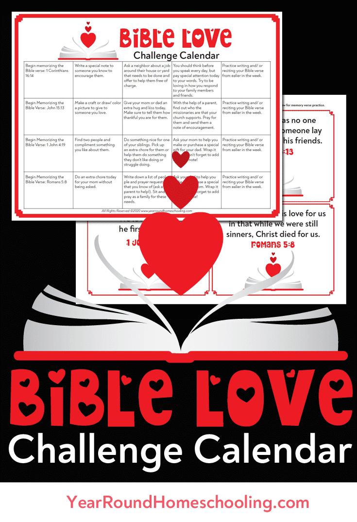 bible love challenge calendar, bible love challenge, love challenge, love challenge calendar