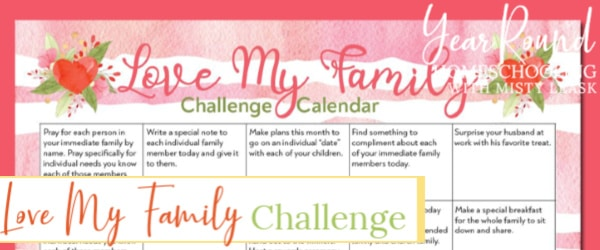 love my family challenge, love family challenge, love challenge, love challenge calendar