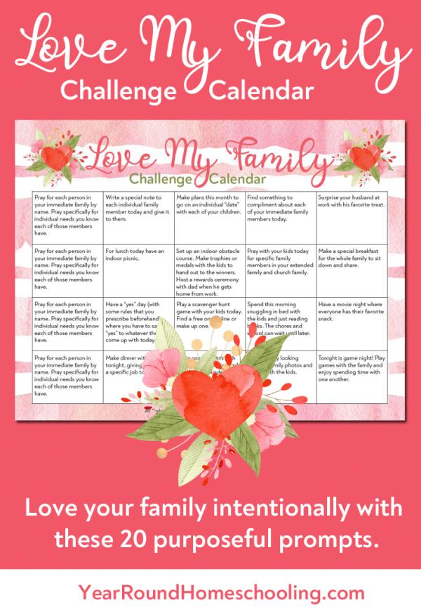 love my family challenge, love family challenge, love challenge, love challenge calendar