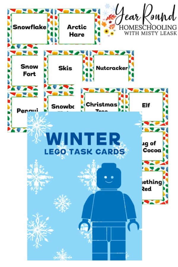 winter lego task cards, winter lego task, winter lego challenge