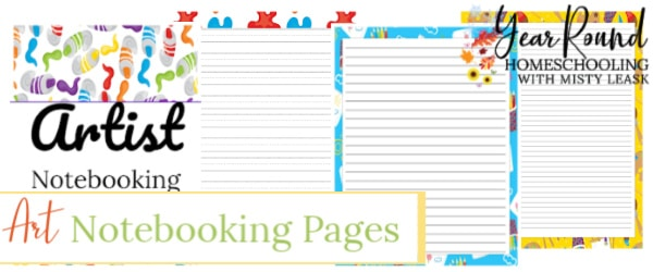 artist notebooking pages, art notebooking pages, notebooking pages for art, notebooking pages for artist