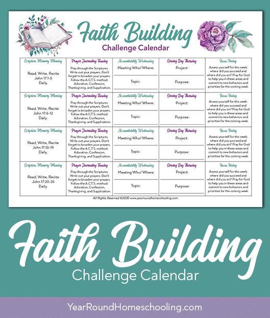 faith building challenge, faith building challenge calendar, faith building calendar