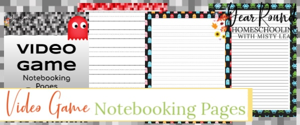 video game notebooking pages, video game notebooking