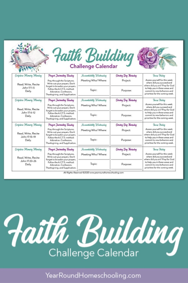 faith building challenge, faith building challenge calendar, faith building calendar