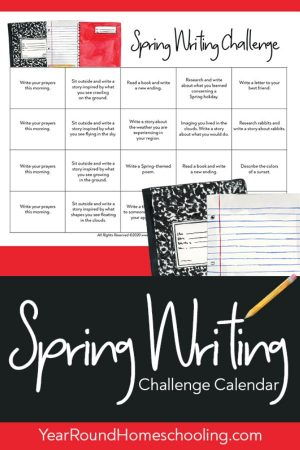 Spring Writing Challenge Calendar