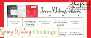 spring writing, spring writing challenge, spring writing challenge calendar