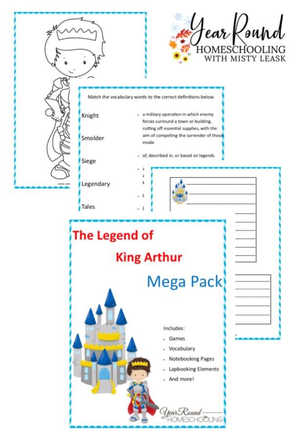 king arthur activity pack, king arthur activities, king arthur printable