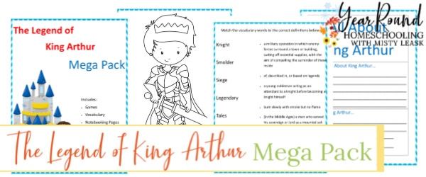 king arthur activity pack, king arthur activities, king arthur printable