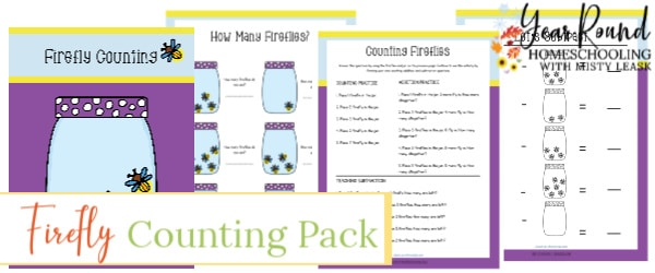 firefly counting, counting pack, preschool counting, kindergarten math