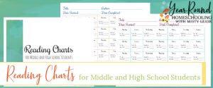 middle school reading charts, high school reading charts