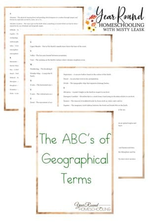The ABCs of Geographical Terms