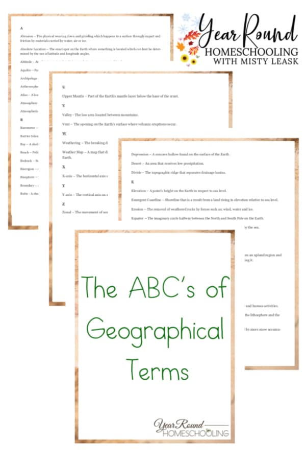 ABCs of geographical terms, ABCs of geography, geographical terms, geography terms