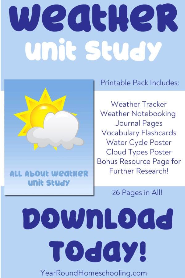 weather unit study, unit study for weather, weather study, weather unit