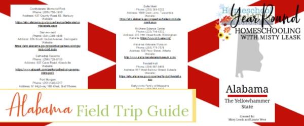 alabama field trip guide, field trip alabama guide
