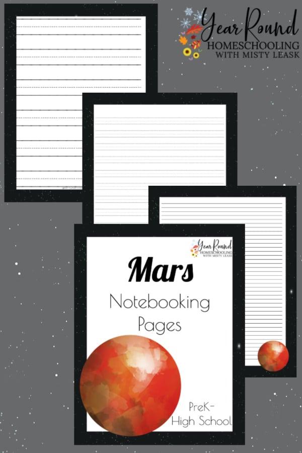 mars notebooking pages, mars pages, mars notebooking