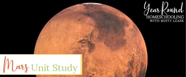 mars unit study, mars study, mars unit