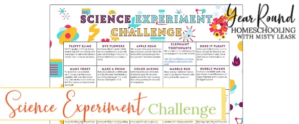 science experiment challenge calendar, science experiment challenge, science experiment calendar