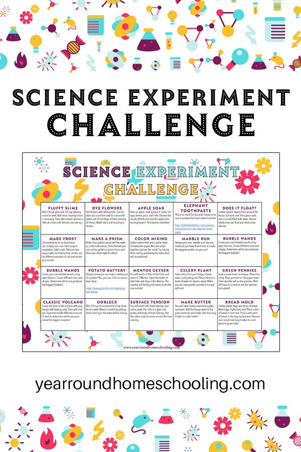 science experiment challenge calendar, science experiment challenge, science experiment calendar