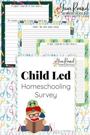 Child Led Homeschooling Survey Pack