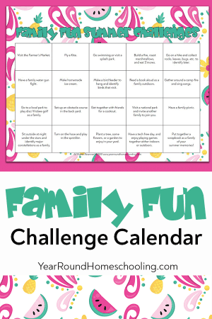 Family Fun Summer Challenge Calendar