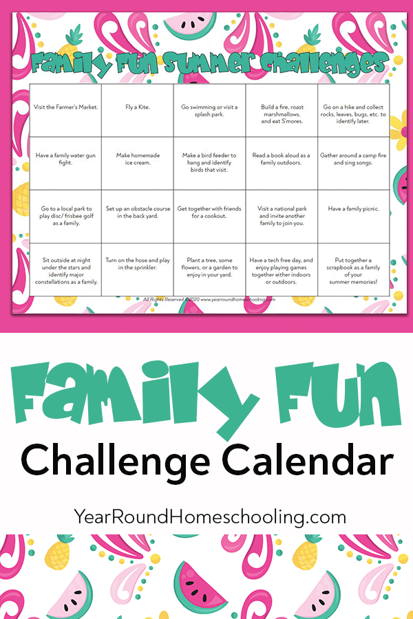 family fun summer challenges, family fun summer, family fun summer challenge calendar, family fun challenge, family fun calendar, family fun challenge calendar