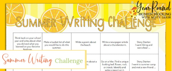 summer writing challenge, summer writing, summer writing challenge calendar
