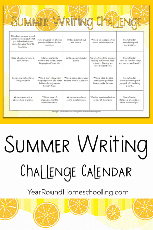 Summer Writing Challenge Calendar