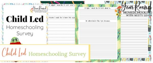 child led homeschooling survey, child led homeschooling questionnaire, child led homeschooling pack