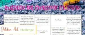 outdoor art challenge calendar, outdoor art challenge, outdoor art projects, outdoor art
