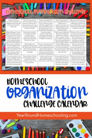 Homeschool Organization Challenge Calendar