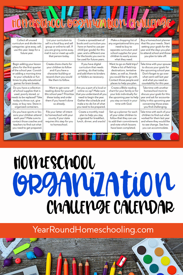 homeschool organization challenge, homeschool organization calendar, homeschool organization challenge calendar, homeschool organization