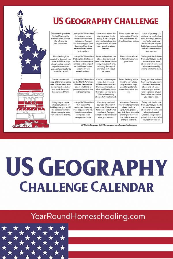 us geography challenge, us geography challenge calendar, united states geography challenge, united states geography challenge calendar