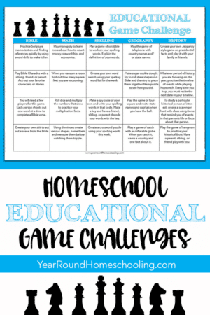 Educational Games Challenge Calendar