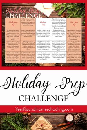 Holiday Prep Challenge Calendar