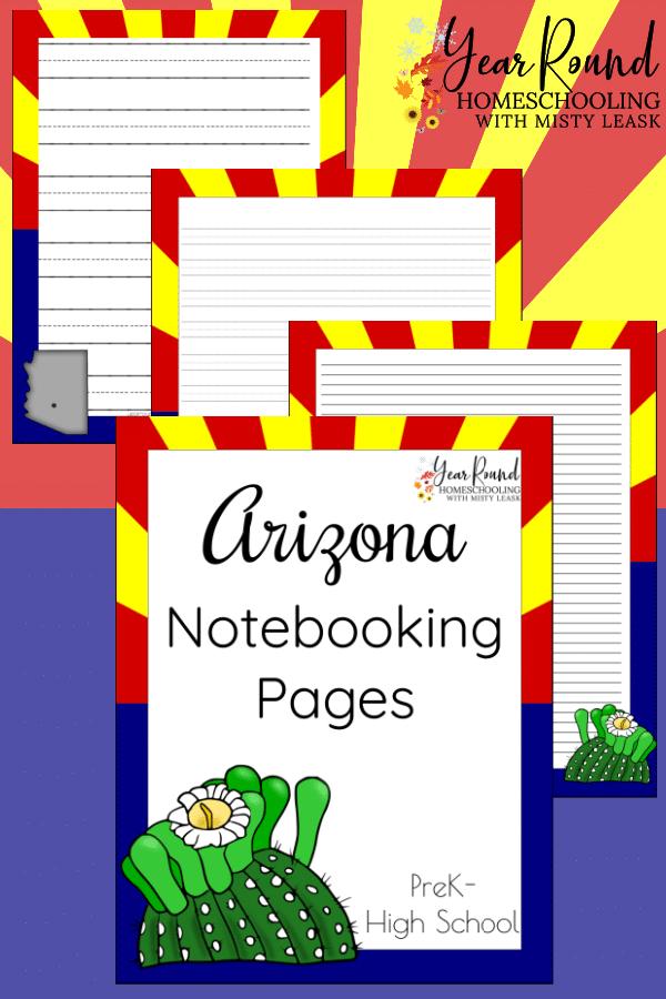arizona notebooking pages, arizona notebooking