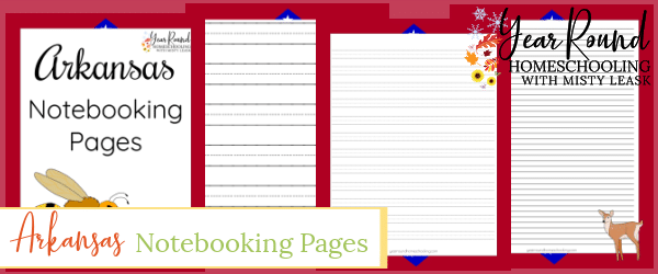 arkansas notebooking pages, arkansas notebooking