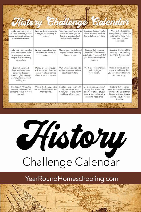 history challenge calendar, history challenge