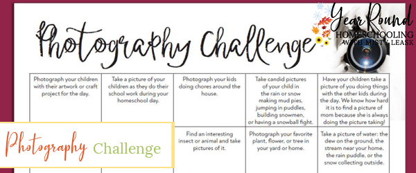 photography challenge calendar, photography challenge