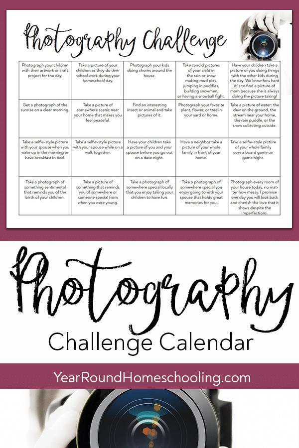 photography challenge calendar, photography challenge