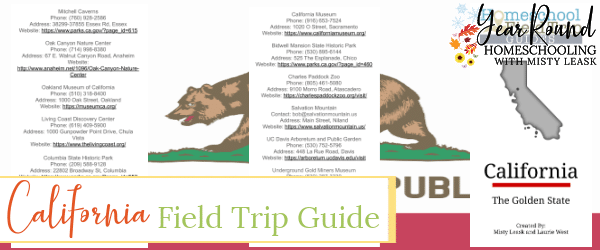california field trip guide, field trip guide california