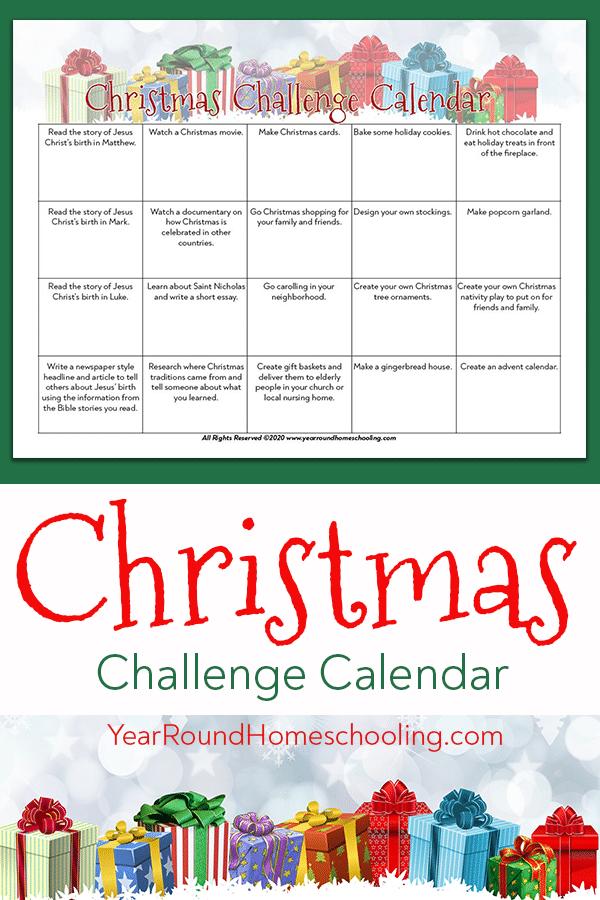 christmas challenge, christmas challenge calendar, christmas calendar